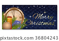 Christmas card with candle and antique clock 36804243