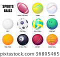 Balls for rugby and baseball, basketball and 36805465