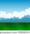 Natural Landscape,Green Field and Mountains 36806814