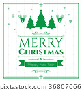 Set of christmas icons on green background 36807066