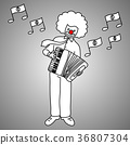 businessman playing piano accordion vector 36807304