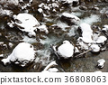 Taking a winter landscape of mountain stream in Hakumo-cho, Yakumo-cho, Hokkaido 36808063