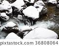Taking a winter landscape of mountain stream in Hakumo-cho, Yakumo-cho, Hokkaido 36808064