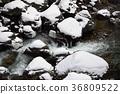 Photographing the winter landscape of the mountain stream in Hakumo, Hokkaido 36809522