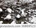 Photographing the winter landscape of the mountain stream in Hakumo, Hokkaido 36809523