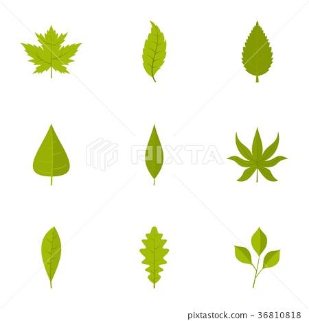 Leaf icons set, flat style 36810818