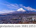 【Yamanashi Prefecture】 Snow-dressed Fujiyoshida and Mt. Fuji 36811053