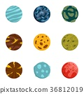 Mystery planet icons set, flat style 36812019