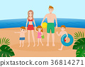family on the beach 36814271