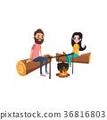 野餐 篝火 夫婦 36816803
