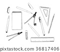 set of stationary , hand draw element vector. 36817406