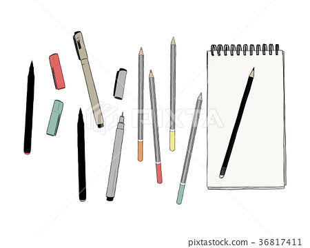 set of stationary , hand draw element vector. 36817411