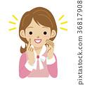 여성 영감 표정 상반신 36817908