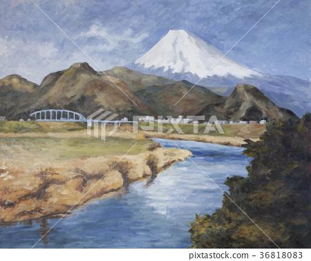 油画 狩野川 富士山 36818083