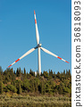 Wind Turbine with Blue Sky and Trees 36818093