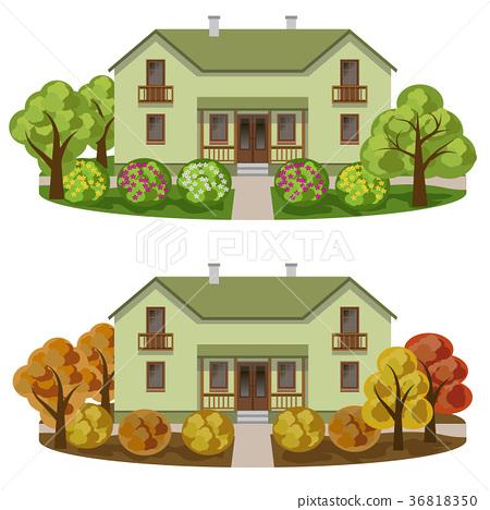 Set of houses in seasoned garden landscape 36818350