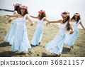 여성, 훌라댄스, 해안 36821157