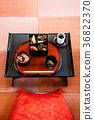 Japanese bento set on black Japanese table 36822370