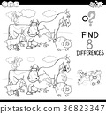 differences game with farm animals color book 36823347