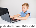 Blond boy looking at laptop 36825561