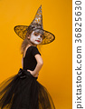 Small girl in Halloween witch costume, orange 36825630