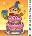 Cake and party monkey theme 2 36826318