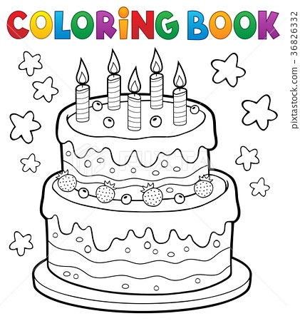 Coloring book cake with 5 candles 36826332