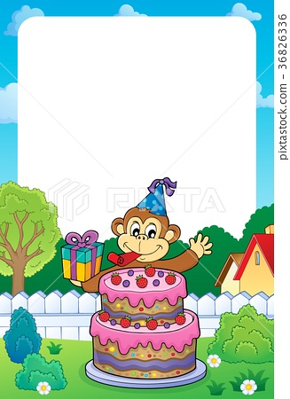 Frame with cake and party monkey theme 1 36826336