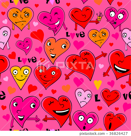 Seamless pattern with funny cartoon hearts. 36826427
