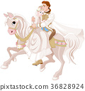 Cinderella and Prince Riding a Horse after wedding 36828924