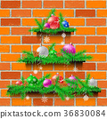 Shelves Christmas tree red brick 36830084