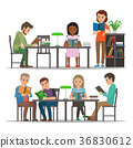 Students Reading Textbook in Library Flat Vector  36830612