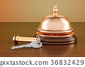 Hotel key and reception bell on the wooden table 36832429