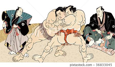 相撲摔跤手Ukiyoe Utagawa Kunisaku白色背景 36833045