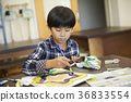 นักเรียนประถม,บทเรียน,เด็กผู้ชาย 36833554