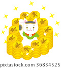 แมวกวักมือและเงิน วัสดุสไตล์ญี่ปุ่น 36834525