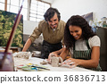 Man assisting woman in molding clay 36836713