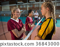 Female players standing with arms crossed and staring each other 36843000