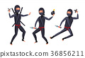 Ninja Warrior Vector. Black Suit.  36856211