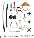 Ninja Weapons Set Vector. Assassin Accessories 36856215