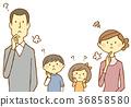 年輕夫婦和孩子麻煩嘆氣 36858580