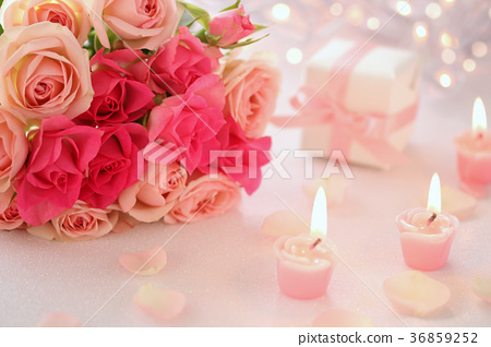 情人節玫瑰花束蠟燭 36859252