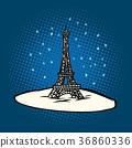 Eiffel tower in winter snowing 36860336