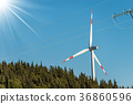 Wind Turbine and a Power Line 36860596