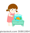 Illustration of cute girl feeding fish in aquarium 36861864