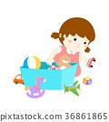 Illustration of cartoon cute girl storing toys. 36861865