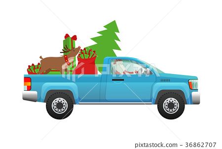 Santa Claus hurry on party. Santa driving pickup 36862707