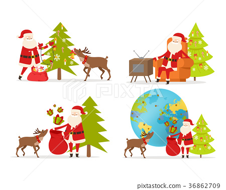 Santa Claus and Big Reindeer on White Background. 36862709
