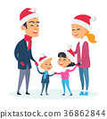 Happy Family in Warm Clothes on White Background 36862844