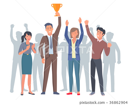 Lucky and Applauding Four Humans with Gold Trophy 36862904